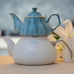 Emsan İzmir Porselenli Çaydanlık Mavi