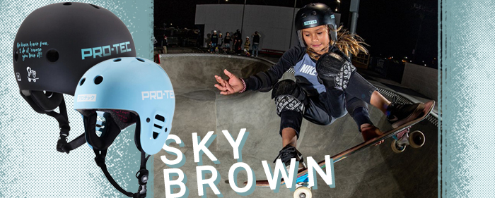 Pro Tec sky brown skateboard helmet Olympics