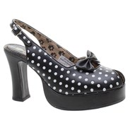 Peep Toe Black/White Polka  Girls Shoe