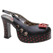 Peep Toe Black/Red Polka  Girls Shoe