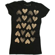 Hearts S/S Girls Tee - Black