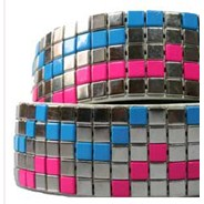The Crunch White with Silver/Pink/Blue Studs Belt