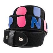 Punk Velcro Belt - Black with Multicolour Patches