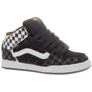 Skink Mid (Checkerboard) Black/White/Orange Kids Shoe IPD1B3