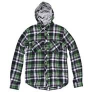 Irving Long Sleeve Flannel Hooded Shirt - Golf Green