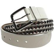 V Studds Leather Belt - Vintage White/Nickel