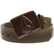 Enamel Icon Buckle Leather Belt - Distressed Brown/Brown
