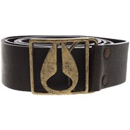 Icon Buckle Leather Belt - Distressed Brown