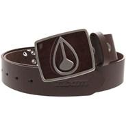 Enamel Icon Buckle Leather Belt - Brown/Dark Wood