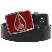 Enamel Icon Buckle Leather Belt - Black/Red