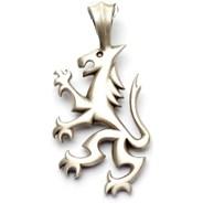 Manjusri's Lion Silver Matte Pendant