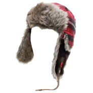 Plaid Fur 2 Beanie - Red Plaid