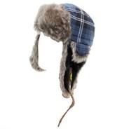Plaid Fur 2 Beanie - Navy Plaid