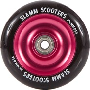 Anodised Metal Core Scooter Wheel and Bearings - Black/Pink