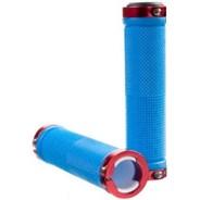 Kraton Scooter Handlebar Grips - Blue/Red Alloy Rings