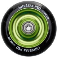 Anodised Metal Core Scooter Wheel and Bearings - Black/Slime Green