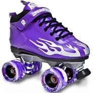 Rock Flames Purple/Grey Quad Roller Skates