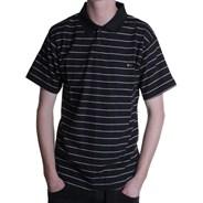 Capped Striped S/S Polo Shirt - Black/White