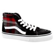SK8 Hi (Plaid) Black/Red Kids Shoe D5F2DN