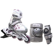 Bladerunner Phaser G Combo Girls Recreational Inline Skate - White/Purple Stars