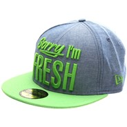 Sorry I'm Fresh Blue Chambray/Lime Fitted Cap