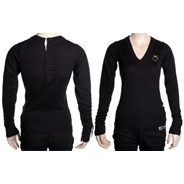 Apple Heart Deep V-Neck Sweater - Black