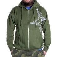 Badge Zip Hood - Army Green
