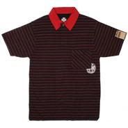 Delmar S/S Polo Shirt - Black/Dark Red