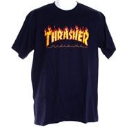 Flame Logo S/S T-Shirt - Navy