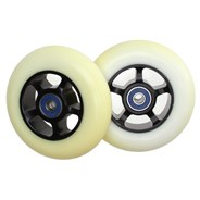 White 100mm Scooter Wheels and Bearings - Discoloured