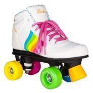 Forever Rainbow Quad Roller Skates - White/Multi