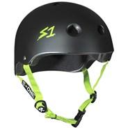 Lifer Helmet - Black Matt with Green Strap
