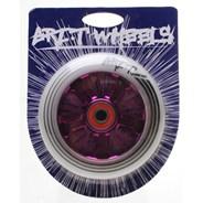Ultra Light 100mm Aluminium Hub Scooter Wheel with Bearing - Purple