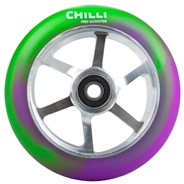 CH 6 Spoked 110mm Metal Core Scooter Wheel and Bearings - Purple/Green/Silver