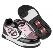 Plus Lighted Black/Silver/Pink Chrome Kids Heely X2 Shoe