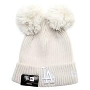 Womens Double Pom Cuff Beanie - LA Dodgers
