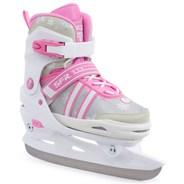 Nova Adjustable Hockey Ice Skates - White/Pink