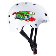 T35 Bullet x Santa Cruz Slasher Youth Skate/BMX Helmet - White