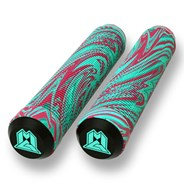 MGP Swirls Grind 180mm Handlebar Grips With Bar Ends - Teal/Red