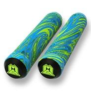 MGP Swirls Grind 180mm Handlebar Grips With Bar Ends - Lime/Blue