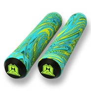 MGP Swirls Grind 180mm Handlebar Grips With Bar Ends - Lime/Teal