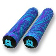 MGP Swirls Grind 180mm Handlebar Grips With Bar Ends - Blue/Purple