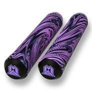 MGP Swirls Grind 180mm Handlebar Grips With Bar Ends - Purple/Black