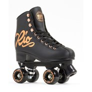 Rose Figure Quad Roller Skates - Black