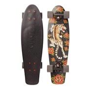 Complete Nickel 27inch Plastic Skateboard - Tiger Bloom