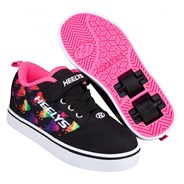 Pro 20 X2 Black/Rainbow Metallic Hearts Kids Heely Shoe