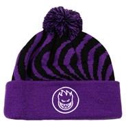 Classic Swirl Pom Cuff Beanie - Purple/Black