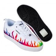 Pro 20 Prints White/Rainbow Flames Kids Heely Shoe