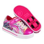 Snazzy Hot Pink/Multi Heart Swirl Nylon Kids Heely X2 Shoe