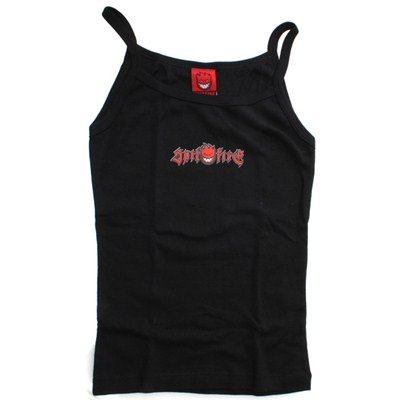 Spagetti Strap Girls Vest Top - Black